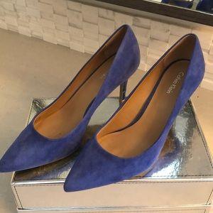 Calvin Klein blue suede pumps